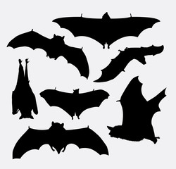 Bat flying animal silhouette. Good use for symbol, logo, web icon, mascot, or any design you want. Easy to use.