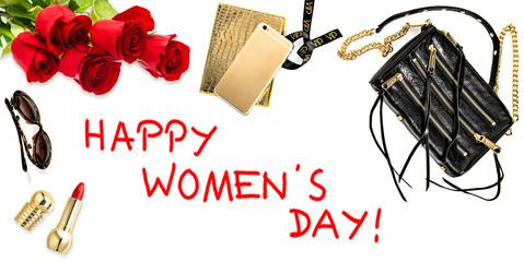 Fashion background accessories, cosmetics, flowers. Feminine web