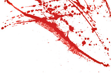Blood splatter, red acrylic paint splash background texture grunge. Blood splash, spray. Abstract acrylic hand painted splash. Murder and killing. Close up.