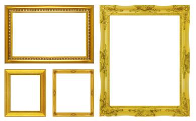 Set golden frame isolated on white background