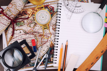 Preparing for travel, trip vacation, tourism mock up close-up on vintage map.