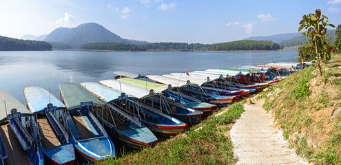 The Parking of boats on the lake in Dalat, Vietnam
