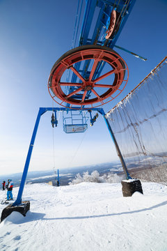 The drop-of station of the ski lift in the Adjigardak, Russia