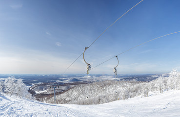The rope road of the ski lift in the Adjigardak, Russia