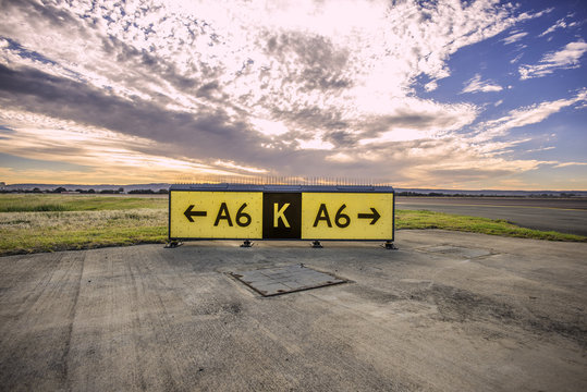 Signs at the airport guiding pilots to the runway