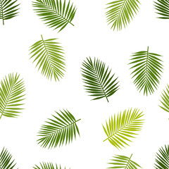 Palm leaf silhouettes seamless pattern. Tropical leaves. Vector illustration