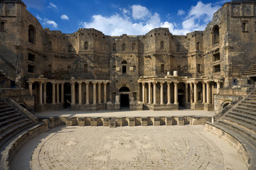 Syria. Bosra. The monumental frontage of 2nd-century AD Roman theatre for 12000 seat. This site is on UNESCO World Heritage List