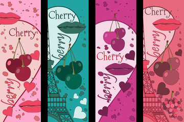 Collage from the Eiffel Tower, a cherry and a kiss. Set romantic collages. Paris. France. Contemporary art. Vector illustration.