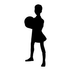 Boy With Ball Silhouette. Vector EPS 10.