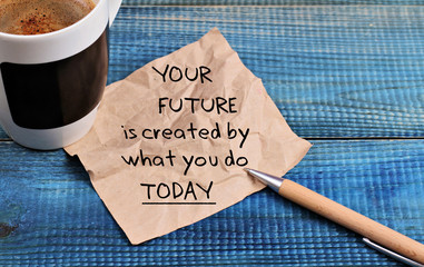 Inspiration motivation quotation your future is created by what you do today and cup of coffee Wall mural