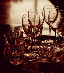 Glasses on the table. Bar