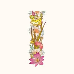 Floral alphabet. Letter I