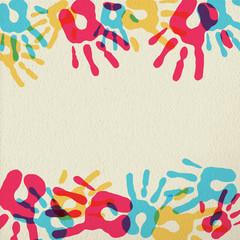 Hand print illustration of teamwork background