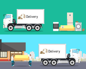 Loaders are sofa in a truck for the move. Furniture awaiting loading. Transportation and Logistics. Vector illustration