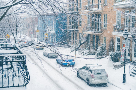 Montreal, CA, 7th March 2016. Berri Street during snow storm