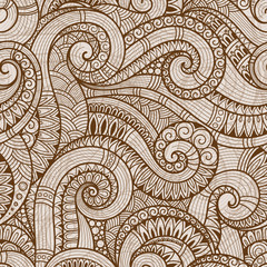 Seamless asian   floral retro doodle background pattern .