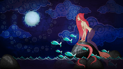 Cartoon style mermaid sitting on the stone in the night
