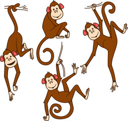 Set of monkeys in different poses
