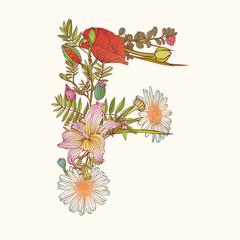 Floral alphabet. Letter F