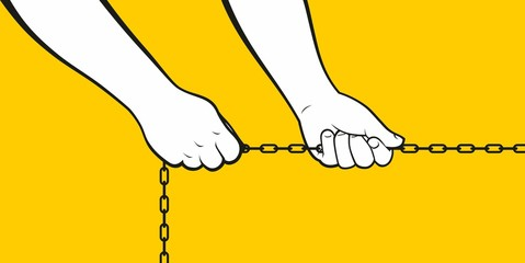 Hands pulling chain