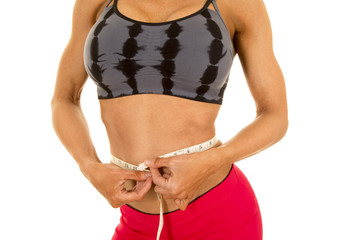 woman fitness clothes body measure waist