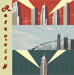 Cityscape horizontal  Cartoon city in different color variations.