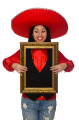 Mexican woman with picture frame isolated on white