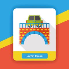 Aluminium Prints Rainbow car bridge flat icon