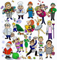 Big set of different people.concepts funny cartoon pictures  Profession 