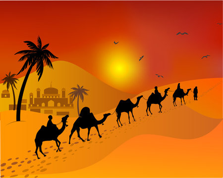 Caravan of camels going through the desert. east. Muslim landscape.