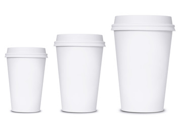 Coffee cup sizes isolated on white background