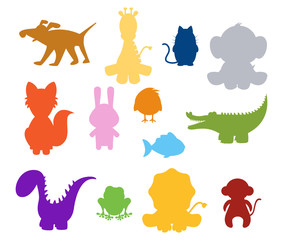 color baby silhouette animals