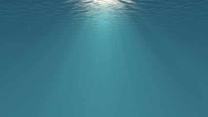 Lightrays Shining through Deep Ocean Water Surface