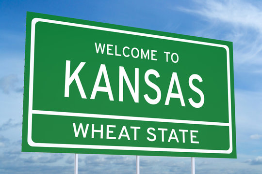 Welcome to Kansas state road sign