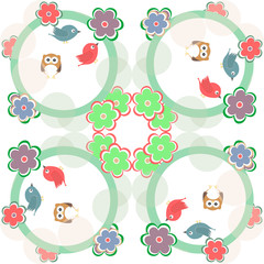Cute seamless flower owl background pattern in vector