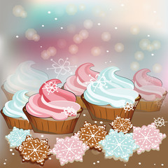 Winter Christmas sweets cupcakes and cookies. Vector