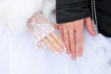 Wedding couple hands with wedding rings
