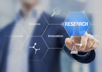 Businessman presenting concept about research, innovation and experiments