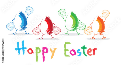 funny easter eggs with boxing gloves happy easter greeting template