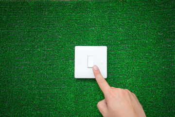 Green Eco Energy concept, electric plug