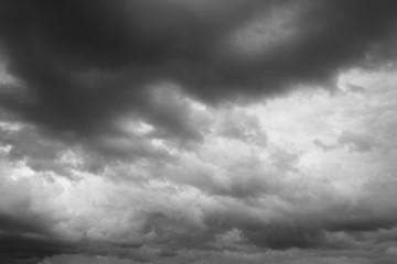 Storm sky, rain.  Cloudy sky over horizon, dark, gray.