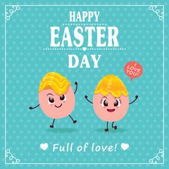 Vintage Easter Egg poster design with egg character