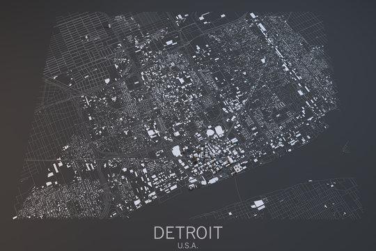 Cartina Detroit, vista satellitare, Stati Uniti