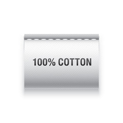 """Clothing label with """"100% cotton"""" sign."""