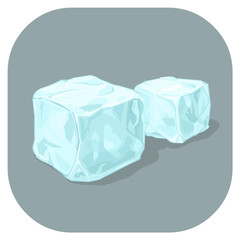 A vector illustration icon of Blue Ice cubes. Frozen water cubes of ice. Flat icon for cooling drinks concept.