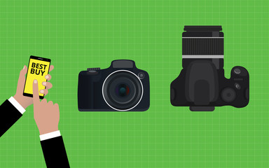 choose and buy the best camera slr vector illustration