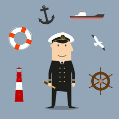 Captain profession and nautical icons