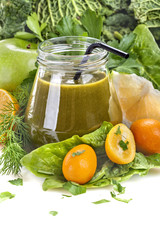 fresh homemade green smoothie with various fruits and vegetables