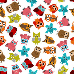 Colorful owls birds seamless pattern