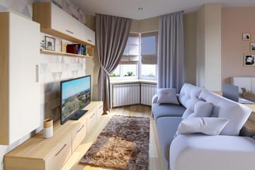 Уютная гостиная в пастельных тонах